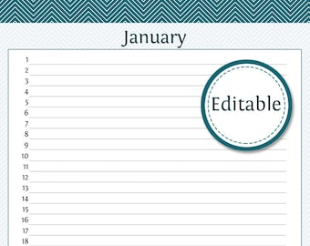 Monthly Planner - Fillable - Printable PDF - Instant Download
