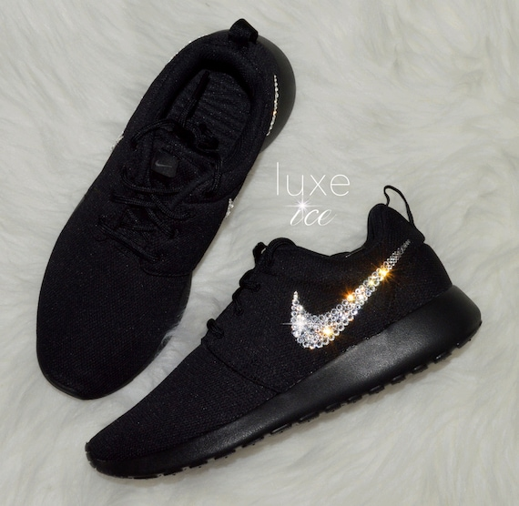 Women's Nike Roshe One - Black/Black customized with Swarovski Xirius Rose  Cut Crystals.