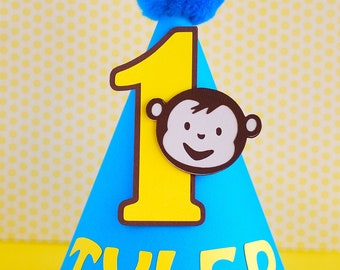 Custom Mod Monkey Inspired Party Hat - personalized with name and age