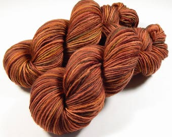 Hand Dyed Yarn, DK Weight Superwash Merino Wool Singles Yarn, SPICE, Indie Dyed Knitting Yarn, Wool Yarn, Single Ply, Autumn Multicolor