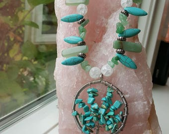 Turquoise (Dyed Howlite) Tree of Life