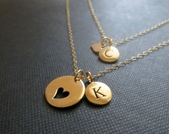 Personalized gift for mom, Mother daughter initial necklace, gold heart cutout charm,Mothers day gift, new mother daughter gift, gold silver