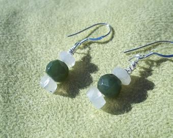 Jade and Moonstone Earrings, Healing Stones, Green Nephrite Jade, Rainbow Moonstone, Sterling Silver, Natural Gemstone Synergy, Focus