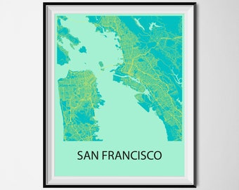 San Francisco Map Poster Print - Blue and Yellow