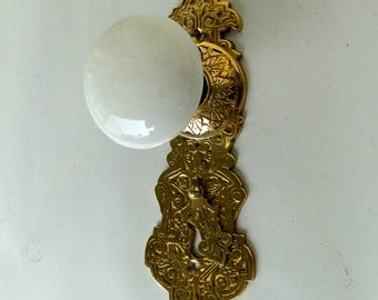 Victorian Reproduction Door Hardware Passage THE VICTORIANA set with White Porcelain Knobs