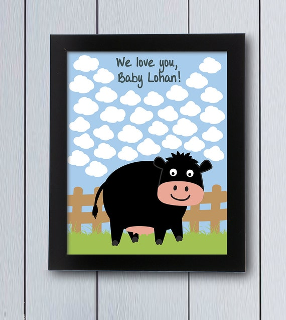 Cow Farm Sign In Board / Printable Pdf / Baby Shower Themed
