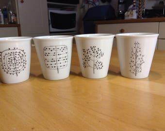 set of 4 Mini mugs coffee guaranteed stylized trees hand painted porcelain wash vaisselleLot 4Plus to order