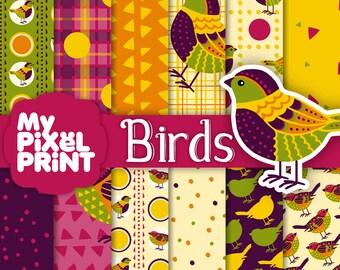 Birds - Violet Yellow Green - Digital Scrapbooking Paper Pack - My Pixel Print