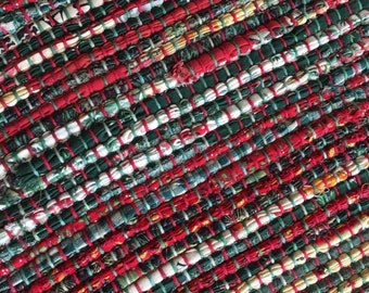 "Hand Woven Table Runner Christmas Patchwork 14"" x 58"""