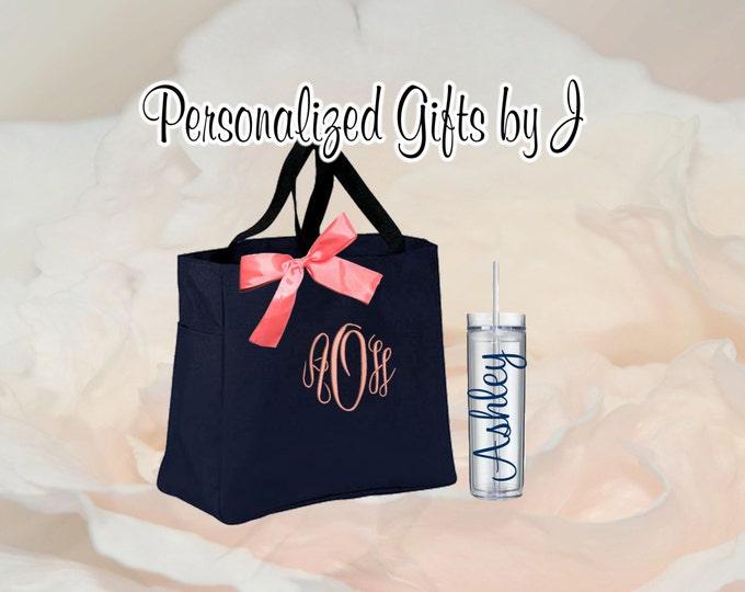 8 Totes and Tumblers, Bridesmaid Gifts, Bridesmaid Bags, Skinny Tumblers, Bridesmaids Totes and Tumbler Set, Bridal Party Gift, Wedding Bag