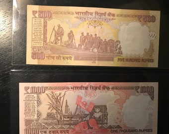 India 1000 Rupees 500 Rupees 2013 Gandhi New - Lot of 2 Notes