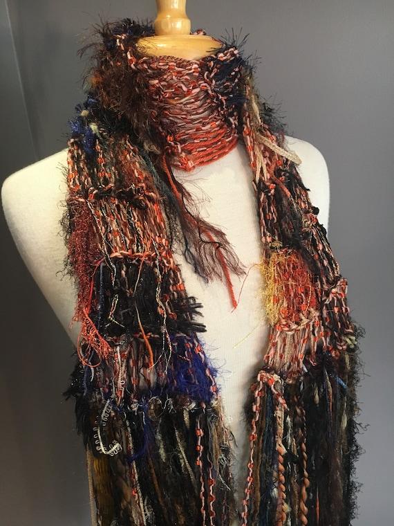 Fringed artistic knit scarf, Blue brown Rust, Bohemian artwear knitwear, Scarf or wrap boho scarf, tribal, artwear, Funky, Knit, Accessory