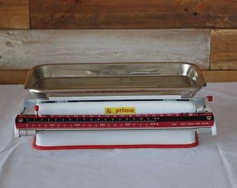 Vintage kitchen scales - Prima scales - Made in Yugoslavia - Enamel - 10 KG scales -  Retro Rustic Industrial Decor