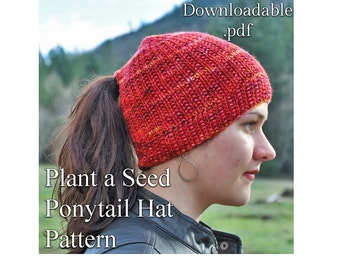 Ponytail Hat or Messy Bun Hat Knitting Pattern .pdf ~ instant download~ Knit Hat Pattern
