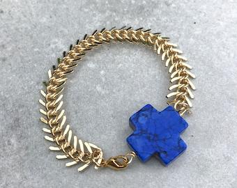 Gold chain cross bracelet, Chunky gold bracelet, stacking bracelet, Layering bracelet, Boho jewelry