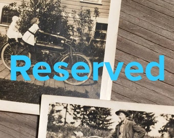 Reserved for Marianne * Vintage Photos, Child with Motorbike, Man with Motorbike