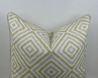 The Sommers Collection, Designer Pillow, Custom Made. Geometric Linen, Tan, Beige, White and Gray.