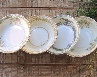 Mismatched Dessert Bowls Set of 4 Tea Party Serving Bowls Wedding Noritake Farmhouse Cottage Style China Replacement China
