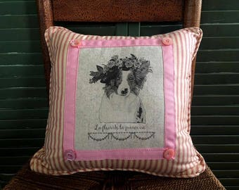 Australian Shepherd/Border Collie, Flower Crown  Pillow French Country Decor   Farmhouse Decor   Dog Print on Pillow  Whimsical dog pillow