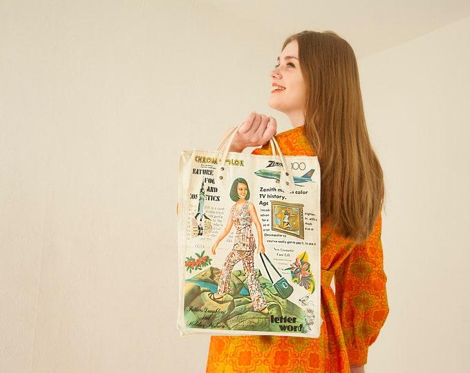 Vintage vinyl retro tote bag, woman figure advertising Maybelline Zenith TV Chromacolor Olga, market grocery, 1970s
