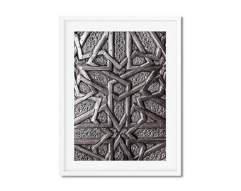 Fine Art Photography - Moroccan Door - Oujda - Morocco - Black and White - Wall decoration - Travel