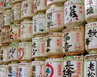 Sake Barrels on Display- Tokyo, Japan : Photography Print, Art Print, Wall Decor, Home Decor, Alcohol, Tradition, Japanese, White, Kanji