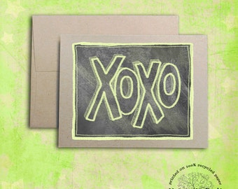 xoxo Chalkboard Notecard... Hand-Lettering Chalk Design A2 Card on Recycled Paper, Valentine