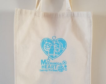 Hand stencilled 'Mechanical Heart' 100% Cotton tote bag