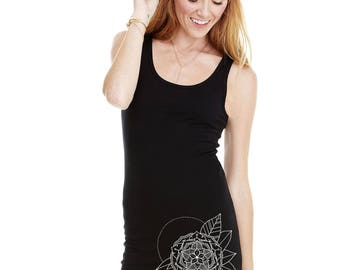 Women's GYPSY FLOWER Racerback Jersey Dress Sacred Geometry Tattoo Style Floral Mandala