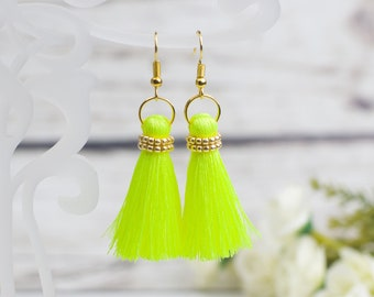 Mini Tassel Earrings Neon Yellow earrings everyday earrings Summer Jewelry small tassel earrings silky boho earrings for girls earrings