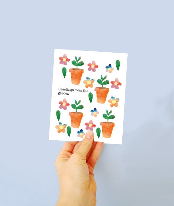 Plantable greetings card - plant the card & watch grow! gardening things - blank card - card for gardening lovers - plant pots - wildflower