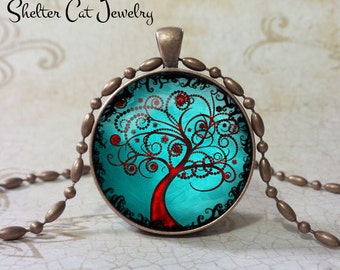"Curly Tree of Life Necklace - Aqua and Copper - 1-1/4"" Round Pendant or Key Ring - Handmade Wearable Photo Art Jewelry, Picture Gift, Nature"