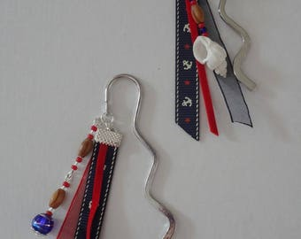 Handcrafted bookmarks with wooden beads and Ribbon anchor marine