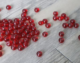 lot 100 red glass beads 6mm round