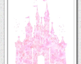 Pink Cinderella castle print, Disney castle, princess castle print, castle watercolor print, light pink castle, soft pink castle silhouette