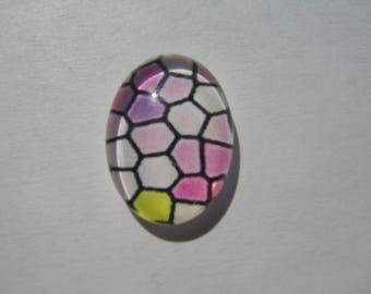 Cabochons 25 x 18 mm with a pink mosaic pattern in white and yellow