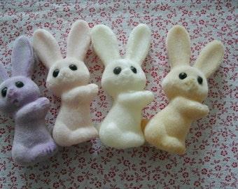 """7 FLOCKED BUNNIES vintage soft 3 colors 3 1/2"""" pastel decoration"""