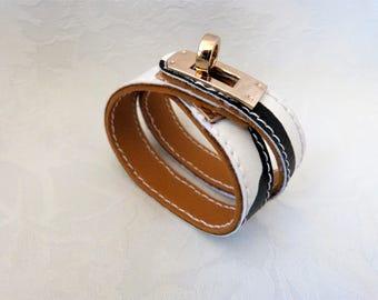 bracelet cuir lezard blanc et noir double tours style hermes