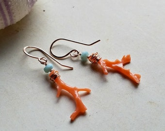 Tiny Larimar Dangle Earrings, Coral Blue Earrings, Pink Coral Branch Dangle:  Ready Made