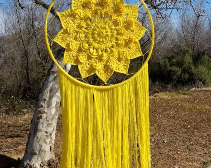 Crocheted indoor or outdoor Dream Catcher.  Hand Crocheted.  Bright Colored indoor or outdoors Dream Catcher