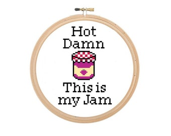 Hot Damn This Is My Jam Cross Stitch Pattern Funny Song Quote Instant Download