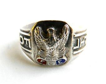 Vintage Sterling Silver Enamel FOE Ring - Fraternal Order of Eagles - Size 10 - Men's Ring - Signed DM