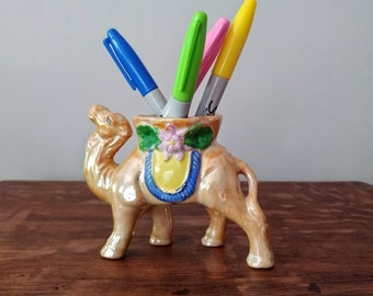 Camel Planter Pencil Holder // Lusterware // Japan // 1940's // 1950's