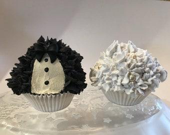 Bride & Groom Faux Cupcakes- Set of 2