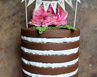 "Wedding cake topper...""we belong together"" banner for your rustic woodland look wedding cake"