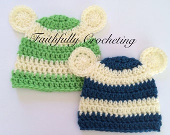 Newborn twin hats... Bear hats.. Photography prop.. Ready to ship