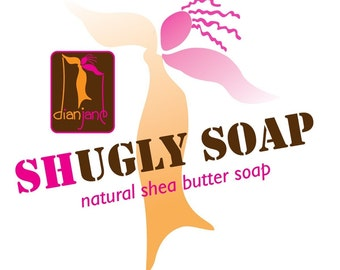 FIVE  SHUGLY Shea Butter Natural Soaps.....4 to 5 oz ..