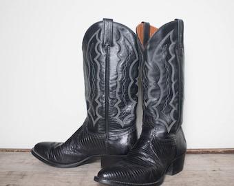 9 D   Men's J. Chisholm Black Lizard Western Boots