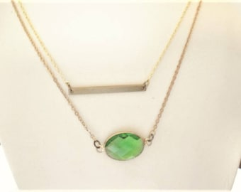 Green Stone Necklace Layered Necklace Gold Bar Necklace Set Two Set Necklace