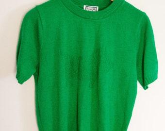Vintage Short Sleeved Green Scottie/Westie Sweater